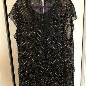 Cap sleeve see through polka dot blouse